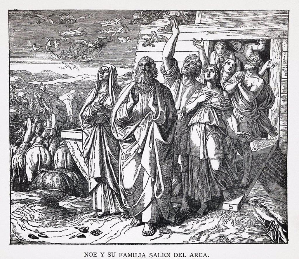 Stock Photo: 4409-53610 NOE Y SU FAMILIA SALEN DEL ARCA. Grabado de 1889. Álbum de Historia Sagrada (La Santa Biblia en imágenes). Dibujo de Julio Schnorr de Carolsfeld.