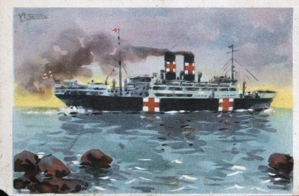 "Dibujo del buque ""Marqués de Comillas"", habilitado como hospital de la Cruz Roja. Tarjeta postal editada por Cruz Roja. Año 1936. : Stock Photo"