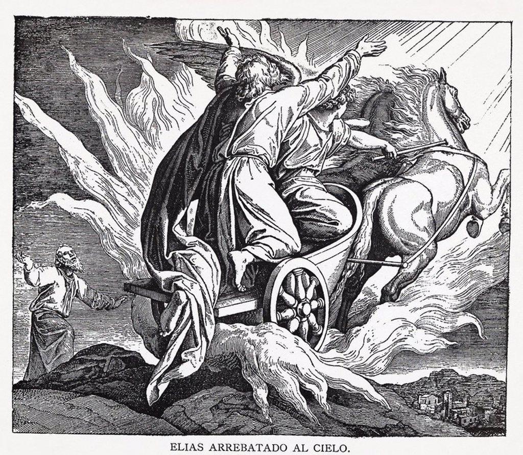 Stock Photo: 4409-53735 ELIAS ARREBATADO AL CIELO. Grabado de 1889. Álbum de Historia Sagrada (La Santa Biblia en imágenes). Dibujo de Julio Schnorr de Carolsfeld.