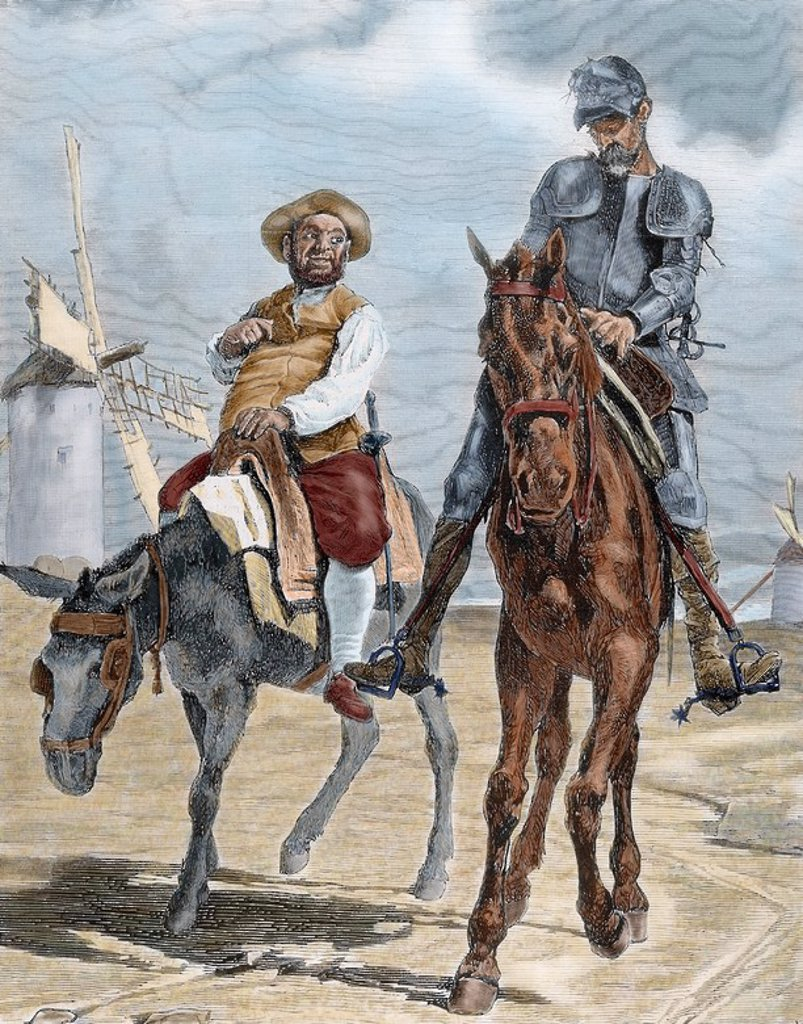 "Spanish literature. ""The Ingenious Hidalgo Don Quixote of La Mancha"", written by Miguel de Cervantes Saavedra (1547-1616). Conversations between Don Quixote and Sancho Panza after the adventure of the windmills (Chapter VIII). Nineteenth century engraving by E. Vela. Colored. : Stock Photo"