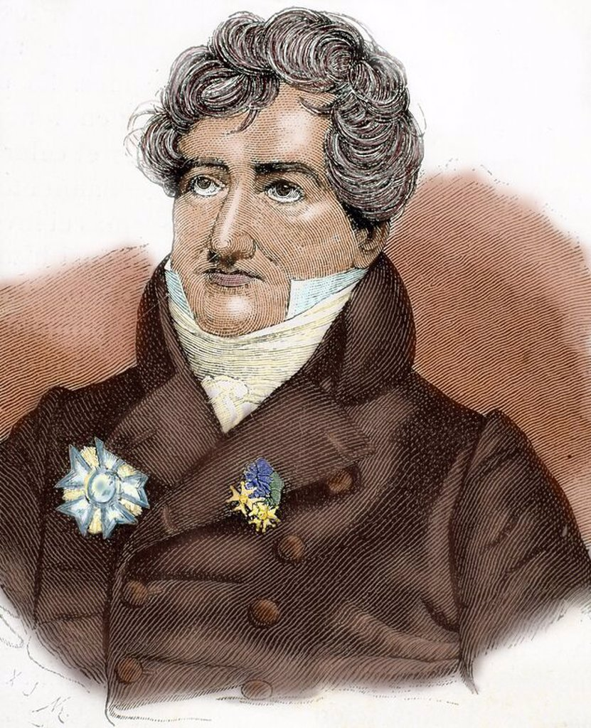 CUVIER, Georges (1769-1832). French naturalist. Engraving by A. Closs. Colored. : Stock Photo