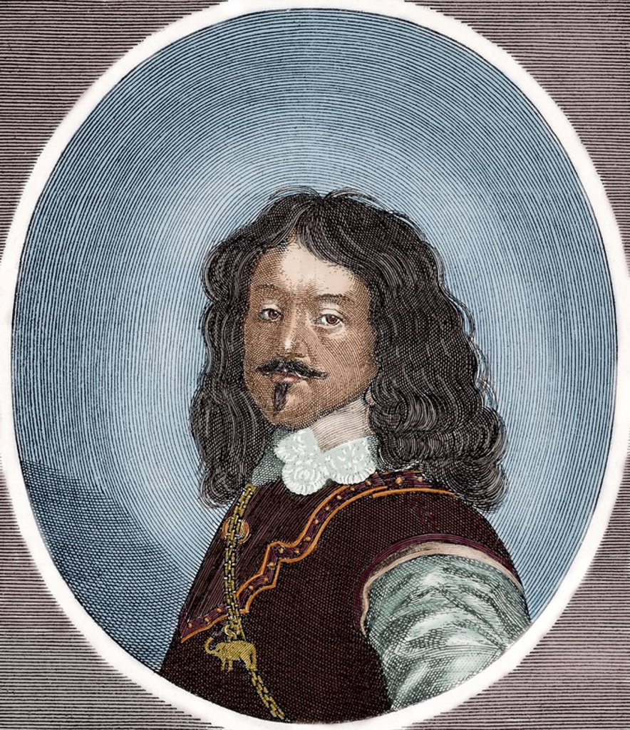Frederick III (1609-1670). King of Denmark and Norway from 1648 until his death. Colored engraving. : Stock Photo