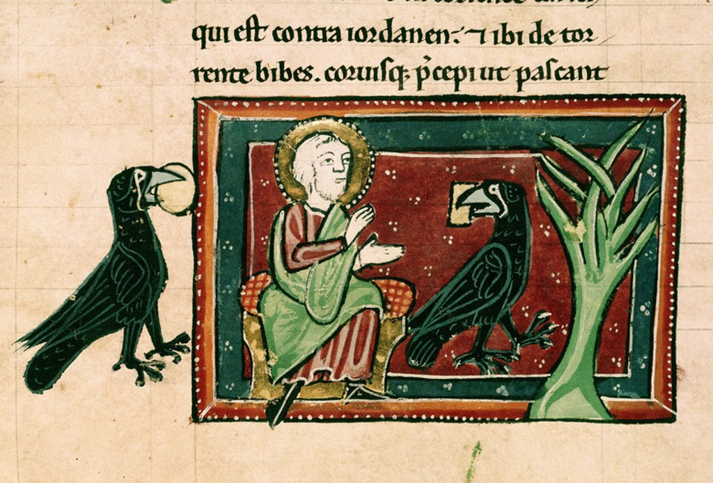 Stock Photo: 4409-5389 13th century Bible. Tome I. Elias and the Crows near the Querit river. Gothic miniature. Madrid, Academy of history. Location: ACADEMIA DE LA HISTORIA-COLECCION, MADRID, SPAIN.