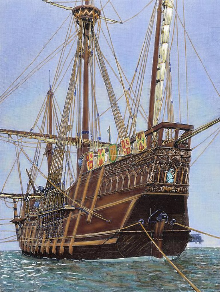 Stock Photo: 4409-53932 Nao Saint Mary of the Immaculate Conception,  used by Christopher Columbus in his first voyage. Engraving by Rico. Colored.