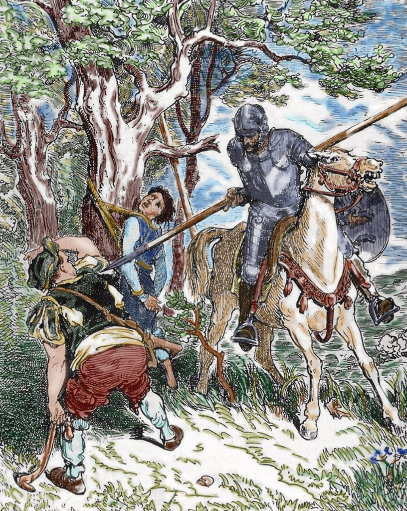 The Ingenious Hidalgo Don Quixote of La Mancha by Spanish writer Miguel de Cervantes (1547-1616). Scene with Don Quixote. Pisan engraving of a drawing by Gustave Dore (1833-1883). Colored. : Stock Photo