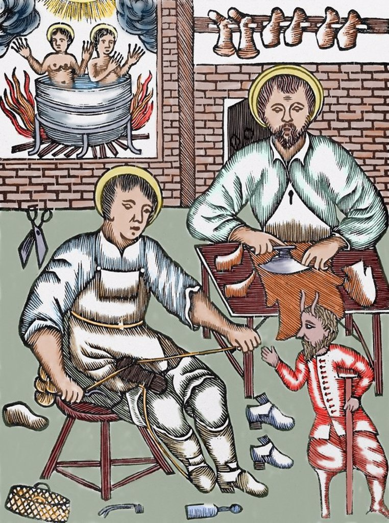 Two Saints make shoes being tempted by the devil. Colored woodcut. : Stock Photo