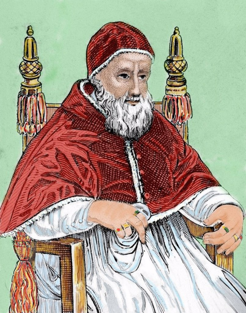 "Stock Photo: 4409-53976 Julius II (1443–1513), nicknamed ""The Fearsome Pope"" and ""The Warrior Pope"", born Giuliano della Rovere. Pope from 1503 to 1513. Colored engraving."