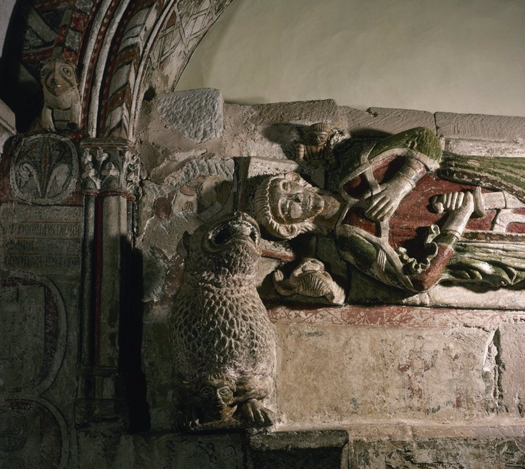 Stock Photo: 4409-54082 ARTE GOTICO. ESPAÑA. SEPULCRO DE LOPE JIMENEZ. Se encuentra en la SALA CAPITULAR (siglo XIV) del MONASTERIO DE NUESTRA SEÑORA DE VERUELA. Data de finales del siglo XIII. Detalle. CERCANIAS DE TARAZONA. Provincia Zaragoza. Aragón.