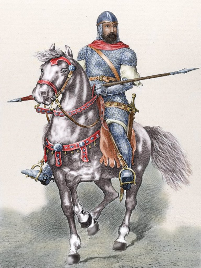 Stock Photo: 4409-54463 Rodrigo Diaz de Vivar (c.1043-1099), known as El Cid. Castilian nobleman, military leader and diplomat. El Cid riding Babieca. Colored engraving.