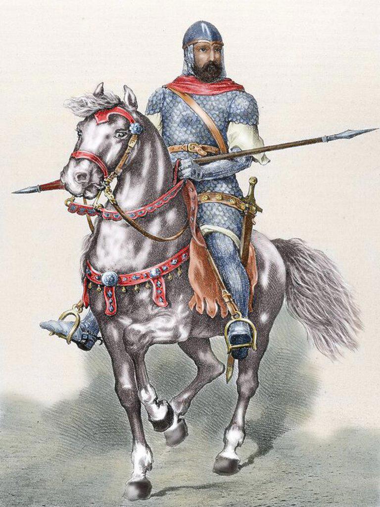 Rodrigo Diaz de Vivar (c.1043-1099), known as El Cid. Castilian nobleman, military leader and diplomat. El Cid riding Babieca. Colored engraving. : Stock Photo