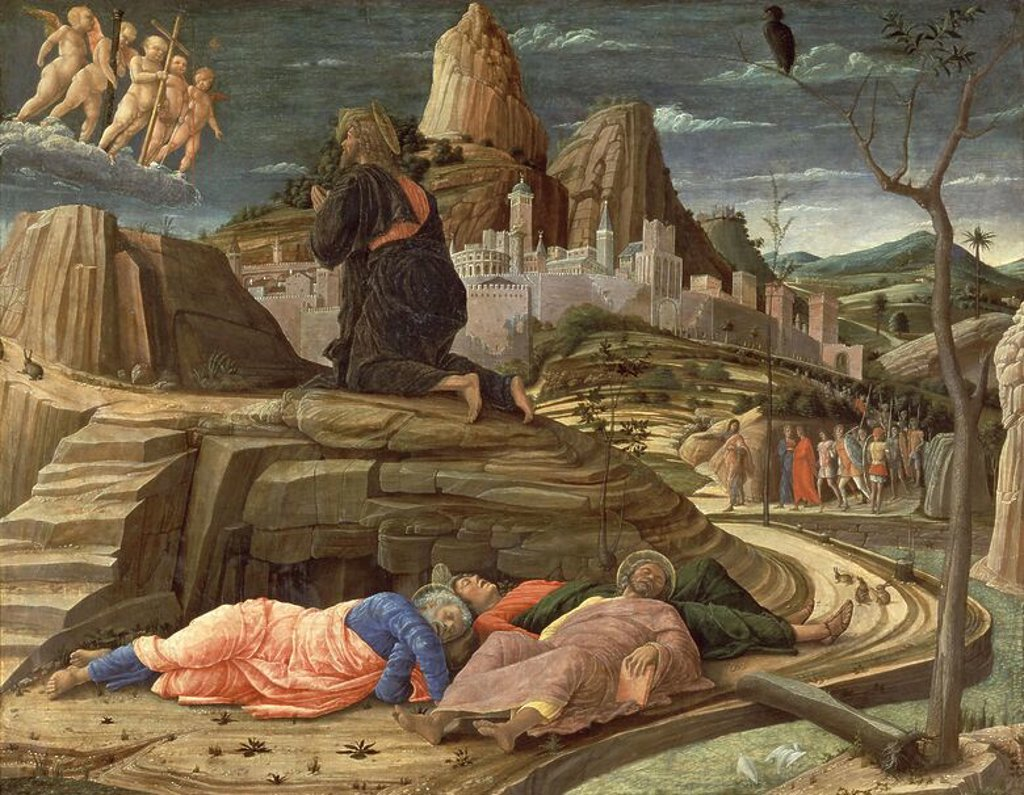 Italian school. Agony in the Garden. 1431. London, National Gallery. Author: MANTEGNA, ANDREA. Location: NATIONAL GALLERY, LONDON, ENGLAND. : Stock Photo