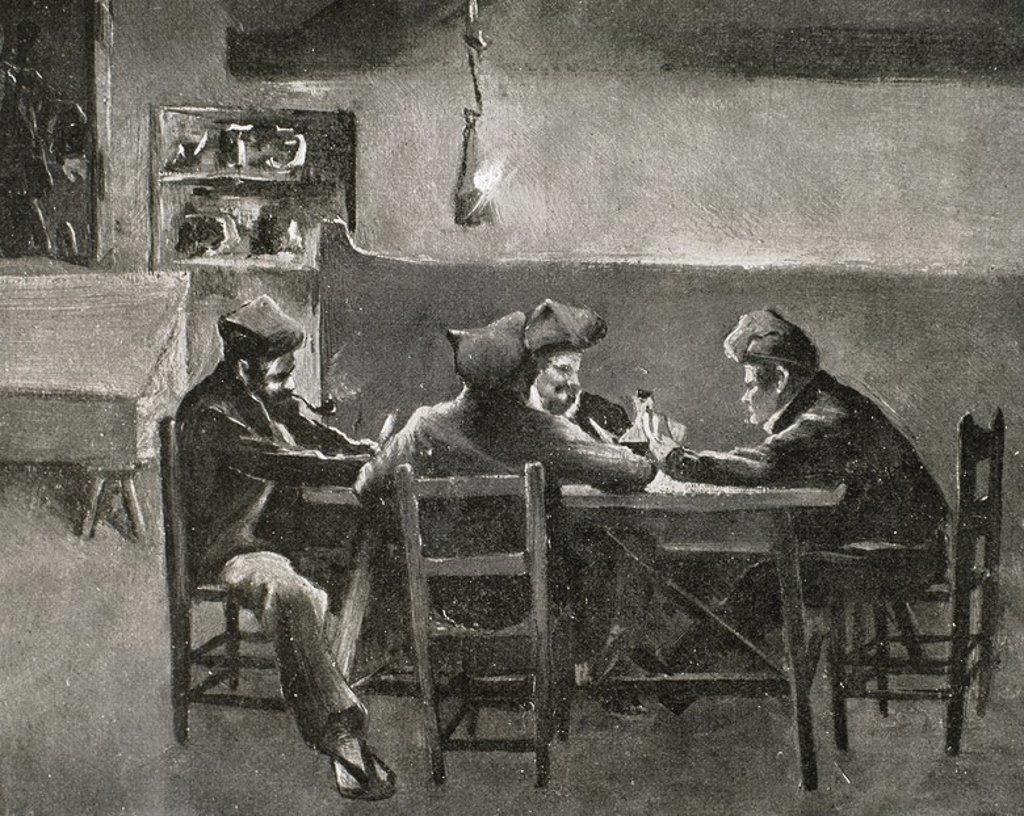 """Stock Photo: 4409-54722 """"LA PUNYALADA"""" novela de costumbres montañesas de Marian Vayreda (Olot,1853-Barcelona,1903). Ilustración de Josep Berga y J. Berga Boada. La Ilustració Catalana. 1903."""