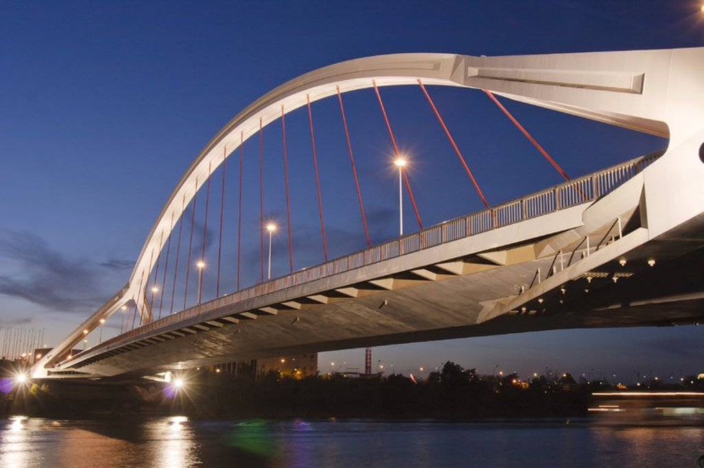 Stock Photo: 4409-55004 La Barqueta Bridge. Guadalquivir River. Sevilla. Spain.