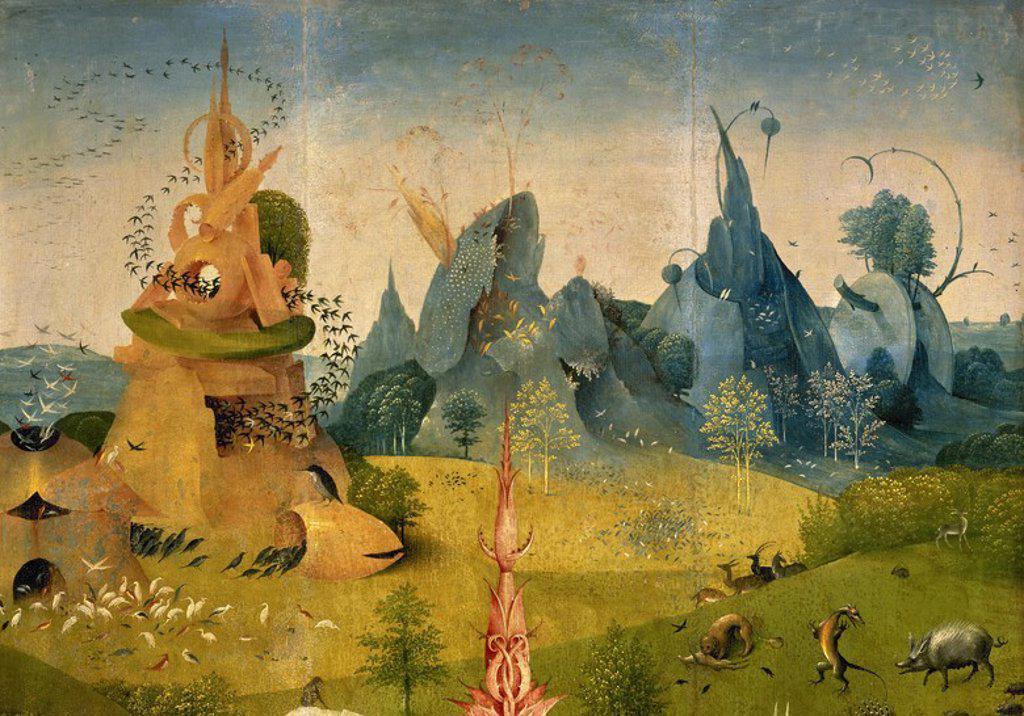 """Stock Photo: 4409-55059 ARTE RENACIMIENTO. HOLANDA. BOSCH, Hieronymus Aeken Bosch o """"EL BOSCO"""" (Bois-le-Duc,1450-Bois-le-Duc,1516). Pintor y grabador neerlandés, perteneciente a la """"Escuela Flamenca"""". """"EL JARDIN DE LAS DELICIAS O LA PINTURA DEL MADROÑO"""". Tríptico en tabla (2,20 x 1,95). Detalle de la hoja izquierda. Museo del Prado. Madrid. España."""