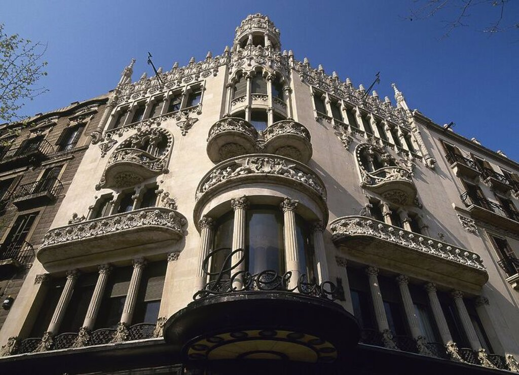 Lleo Morera House. 1905. Built by Lluis Domenech Montaner (1850-1923). Facade. Barcelona. Catalonia. Spain. : Stock Photo