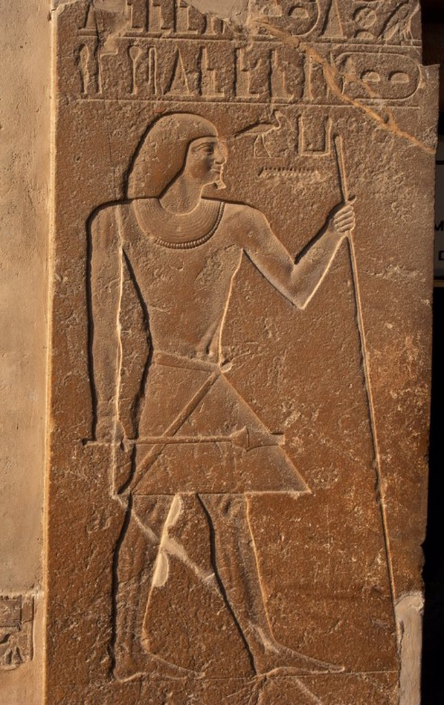 Stock Photo: 4409-55216 Mastaba of Kagemni (2350 BC). Chief Justice and vizier of the Pharaoh Teti. Relief at the entrance depicting Kagemni with the baton and scepter. Old Kingdom. Saqqara. Egypt.