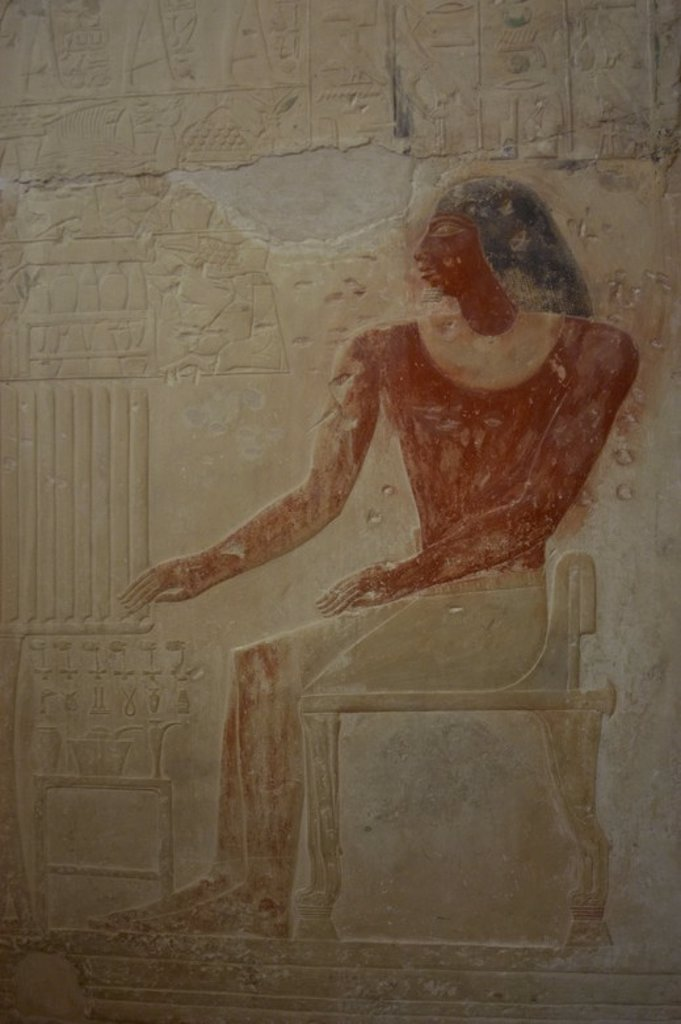 Stock Photo: 4409-55236 Mastaba of Ptahhotep and Akhethotep. 5th Dynasty. Old Kingdom. Egyptian viziers. Father and son. Relief depicting the deceased seated before the offerings table. Saqqara. Egypt.