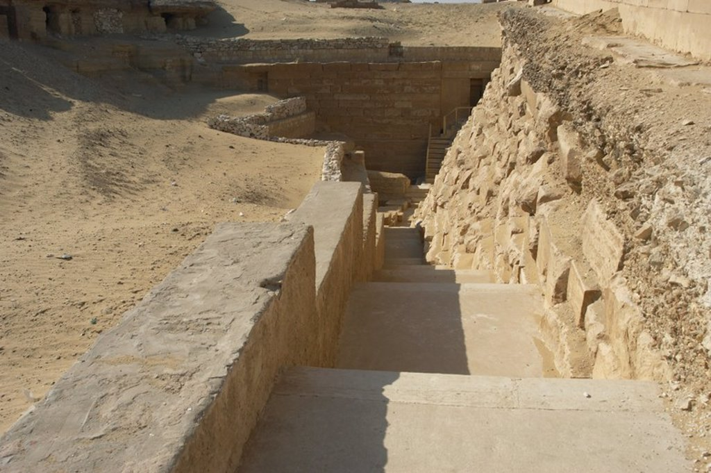 Stock Photo: 4409-55249 Mastaba of Irukaptah. 5th Dynasty. Old Kingdom. Access stairs. Saqqara. Egypt.