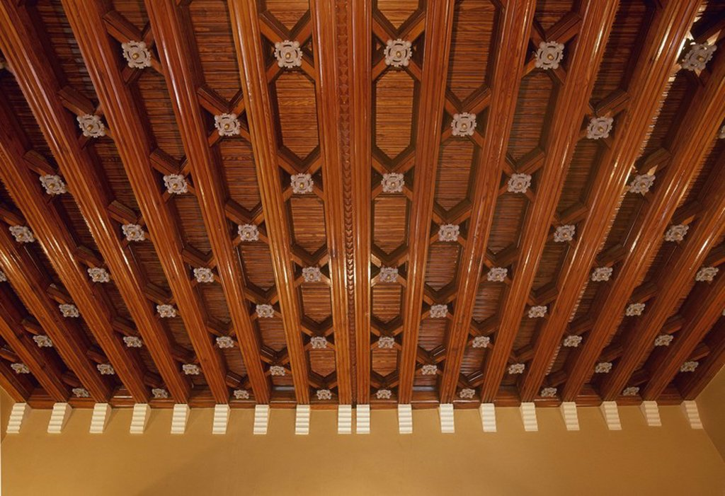 Stock Photo: 4409-55280 Spain. Cantabria. Comillas. El Capricho. 1883. Built by the Spanish architect Antoni Gaudi. Wooden ceiling.
