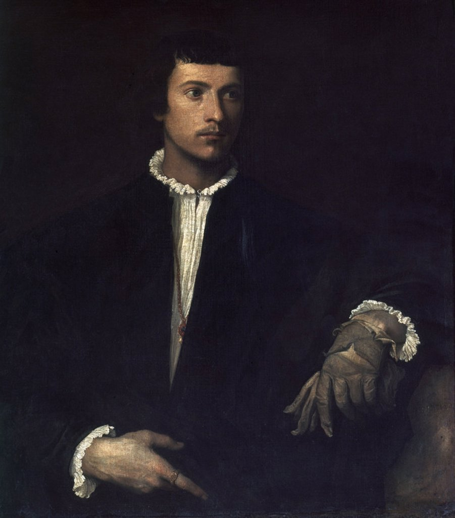 The Man with a Glove - 1520 - 100x89 cm - oil on canvas. Author: TITIAN. Location: LOUVRE MUSEUM-PAINTINGS, PARIS, FRANCE. Also known as: EL HOMBRE DEL GUANTE. : Stock Photo