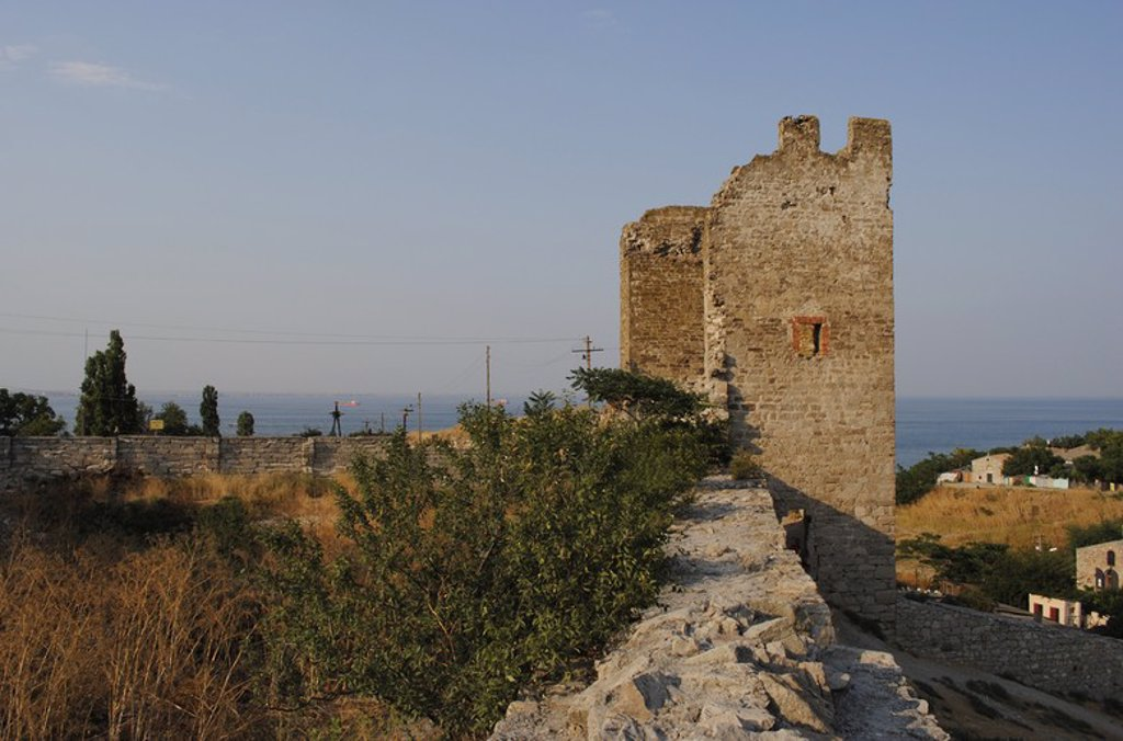 Ukraine. Autonomous Republic of Crimea. Feodosiya. Genoese Fortress. 14th century. Tower. : Stock Photo