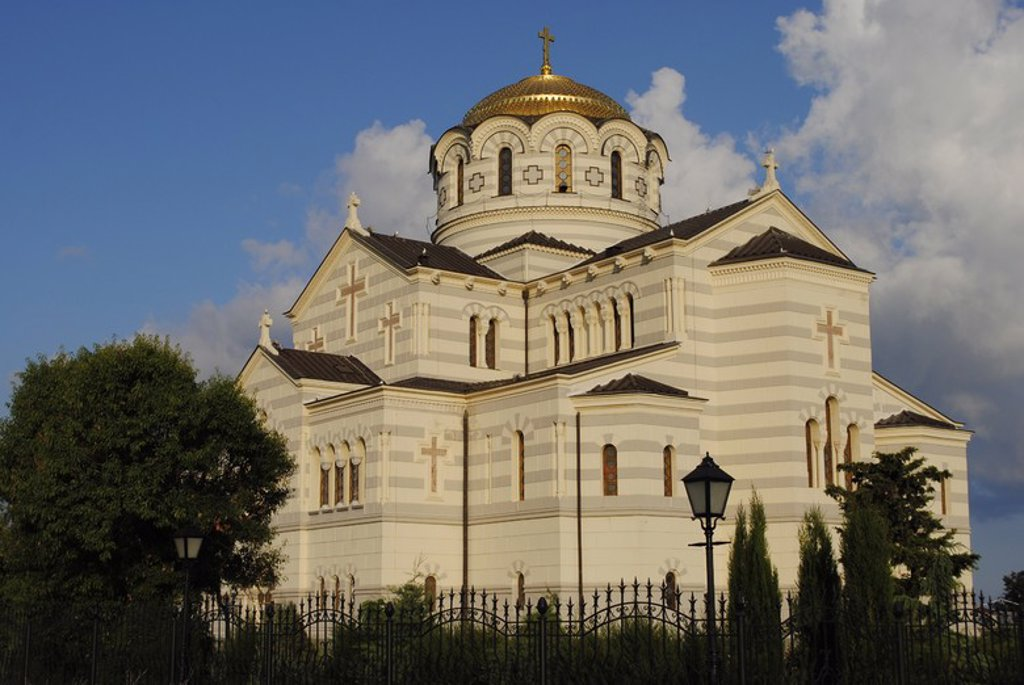 Stock Photo: 4409-55539 Ukraine. Saint Vladimir Cathedral. Neo-Byzantine Russian Orthodox Church built at 19th century. Reconstructed at 21th century by E. Osadchiy. Exterior. Chersonesus Taurica. Sevastopol.