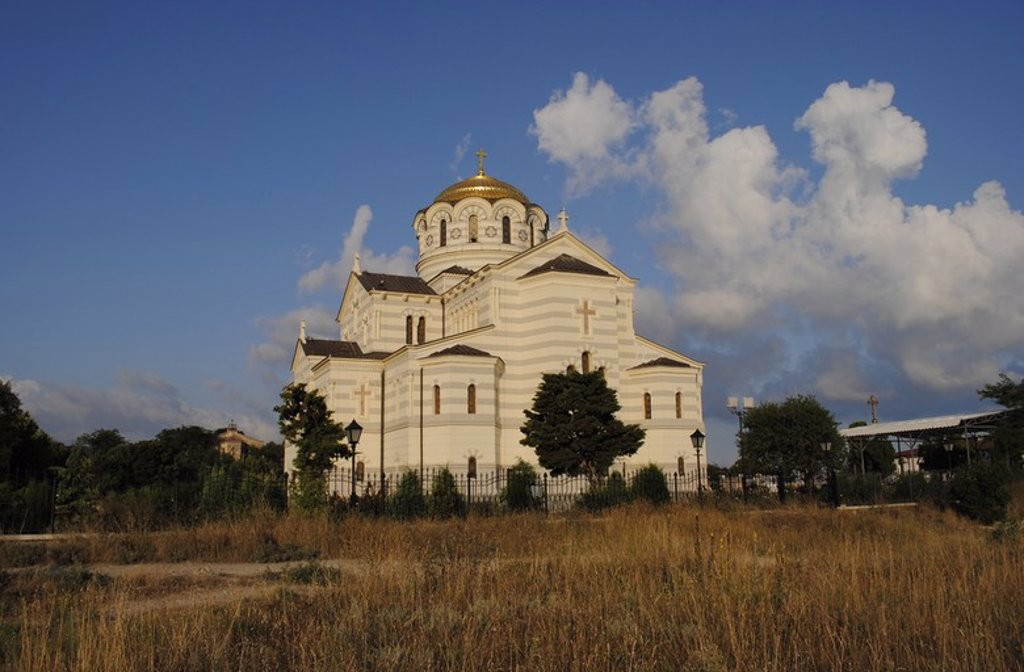 Stock Photo: 4409-55541 Ukraine. Saint Vladimir Cathedral. Neo-Byzantine Russian Orthodox Church built at 19th century. Reconstructed at 21th century by E. Osadchiy. Exterior. Chersonesus Taurica. Sevastopol.