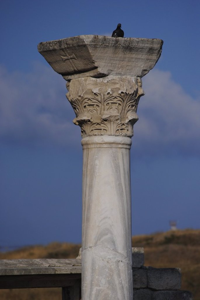 Ukraine. Chersonesus Taurica. 6th century BC. Greek colony occupied later by romans and byzantines. The Byzantine Basilica.  Column, Detail. Sevastopol. : Stock Photo