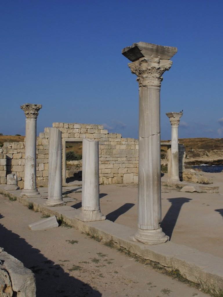 Stock Photo: 4409-55566 Ukraine. Chersonesus Taurica. 6th century BC. Greek colony occupied later by romans and byzantines. The Byzantine Basilica. Sevastopol.