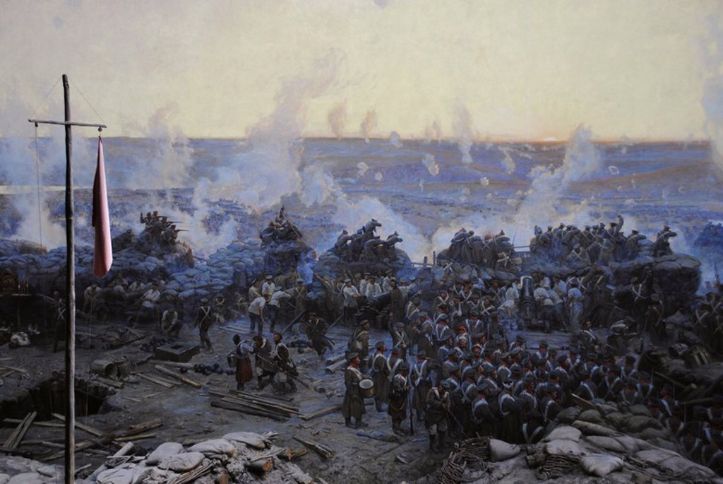 Stock Photo: 4409-55626 Crimean War (1853-1856). Siege of Sevastopol, 1854-1855, by Franz Alekseyevich Roubaud (1856-1928). The city, on the Black Sea, was besieged for 11 months. Detail. Museum of Heroic Defense and Liberation of Sevastopol. Crimean Peninsula. Ukraine.