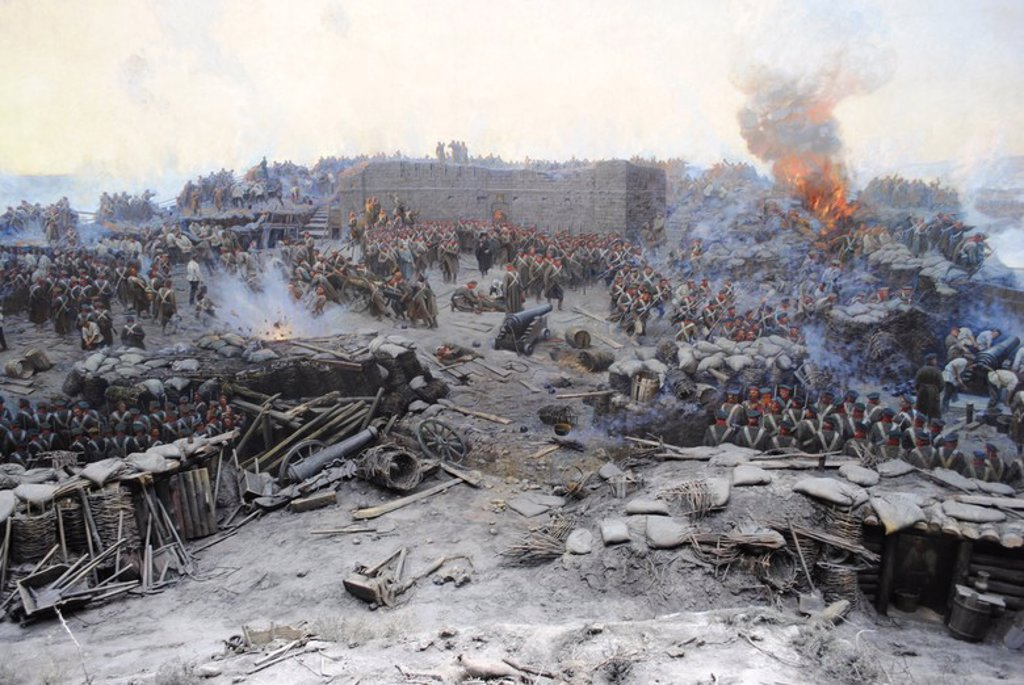 Crimean War (1853-1856). Siege of Sevastopol, 1854-1855, by Franz Alekseyevich Roubaud (1856-1928). The city, on the Black Sea, was besieged for 11 months. Detail. Museum of Heroic Defense and Liberation of Sevastopol. Crimean Peninsula. Ukraine. : Stock Photo