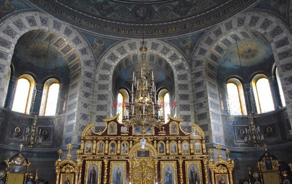 Stock Photo: 4409-55741 Ukraine. Autonomous Republic of Crimea. Yevpatoria. Cathedral of St. Nicholas the Miracle Worker. 19th century. Built by Alexander Bernardazzi. Iconostasis by Vannuki.