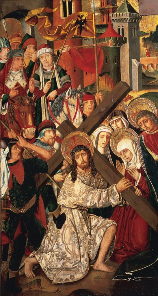 Stock Photo: 4409-55830 Gothic Art. Spain. 15th century. Jesus walked to Calvary (1483-1487). Altarpiece of the Holy Cross of Blesa. Oil painting on wood by Martin Bernat (1454-1497) and Miguel Ximenez (1462-1505). Museum of Fine Arts in Zaragoza. Aragon.