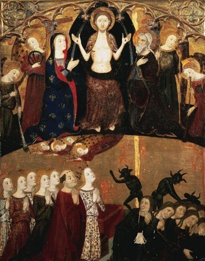 Stock Photo: 4409-55831 Gothic Art. Spain. 14th Century. Altarpiece of Fray Martin de Alpartir. Table of the Last Judgement. Tempera painting on wood, c. 1361 by Jaime Serra (catalan painter documented between 1358 to 1390 in Barcelona). It comes from the Convent of the Holy Sepulchre in Zaragoza. Museum of Fine Arts. Zaragoza. Aragon.