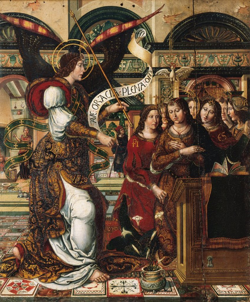 Stock Photo: 4409-55840 Gothic Art. Spain.16th century. Master of Sigena. The Annunciation. Panel painting from the Monastery of Sigena. Diocesan Museum of Barbastro. Aragon.