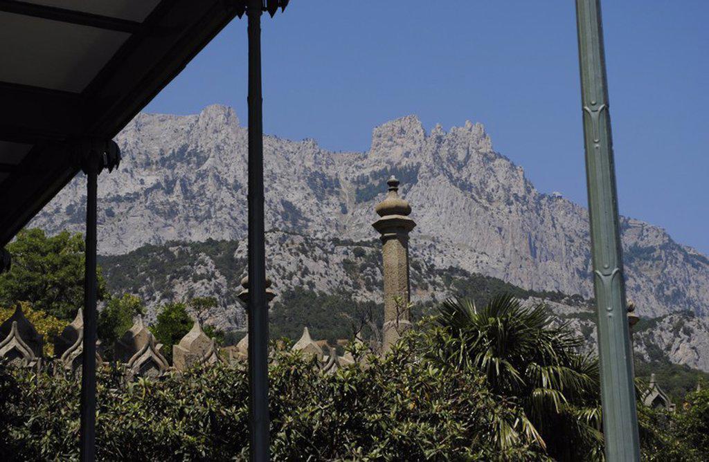 Ukraine. Autonomous Republic of Crimea. Crimean Mountains with Ai-Petri peak in the background. From Vorontsov Palace. Alupka. : Stock Photo