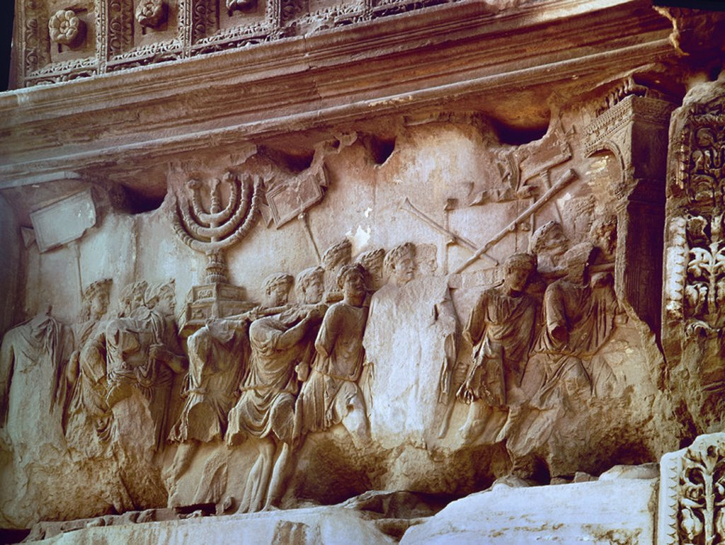 Stock Photo: 4409-5599 Detail from the Conquest of Jerusalem in 70 A.D.. Built by order of Domiciano in 81 A.D.. Roma, Arch of Titus. Location: ARCO DE TITO, ROME, ITALIA.