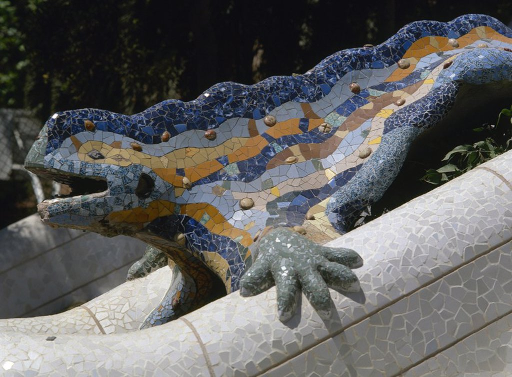 Stock Photo: 4409-56038 Spain. Catalonia. Barcelona. Park Guell. Built by Antoni Gaudi (1852-1926).  Dragon at the entrance. (1900-1914).