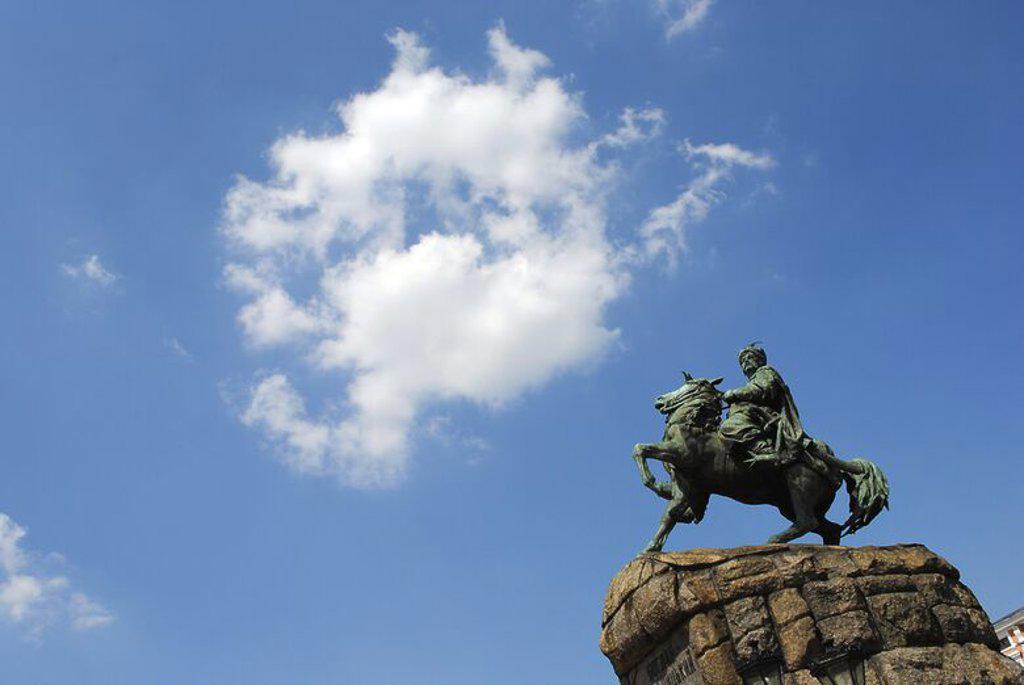 Stock Photo: 4409-56136 Bohdan Khmelnytsky (1595-1657). Cossack's leader. Monument, 1888. Was created by sculptor Mikhail Mikeshin (1835-1896). St. Sofia Square. Kiev. Ukraine.
