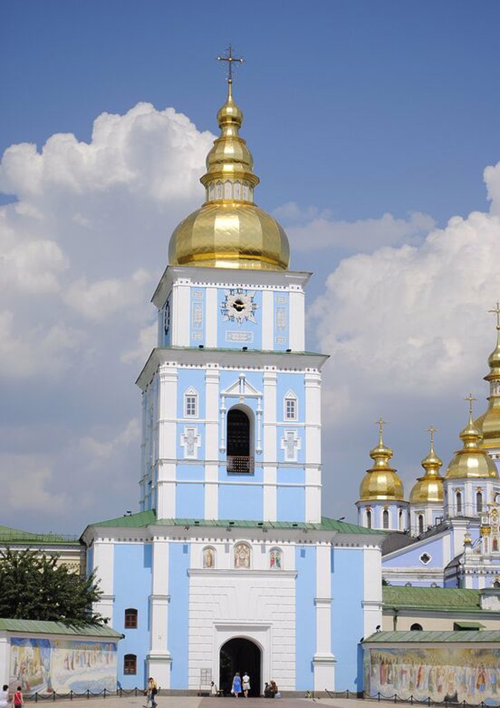 Ukraine. Kiev. St. Michael's Golden-Domed Monastery. The exterior was rebuilt in the ukrainian baroque style in the 18th century. Was demolished by soviet in the 1930. Reconstructed in 1999. : Stock Photo