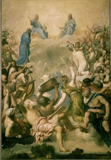 Stock Photo: 4409-5617 1485-1576. Glory. 1551-1554. Oil on canvas. 346x240. Italian Renaissance. Author: TITIAN. Location: MUSEO DEL PRADO-PINTURA, MADRID, SPAIN.