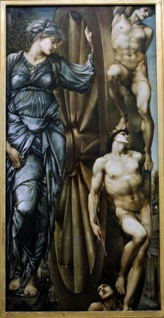 """ARTE S. XIX. INGLATERRA. SIR EDWARD BURNE-JONES (1833-1898). Artista inglés asociado a la Hermanda Prerrafaelista. """"LA RUEDA DE LA FORTUNA"""" (LA ROUE DE LA FORTUNE). (1883). Museo de Orsay. París. Francia. : Stock Photo"""