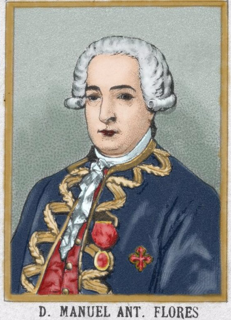 Manuel Antonio Flores (1722-1799). General in the Spanish navy and viceroy of New Granada (1776-1781) and New Spain (1787-1789). Colored engraving. : Stock Photo