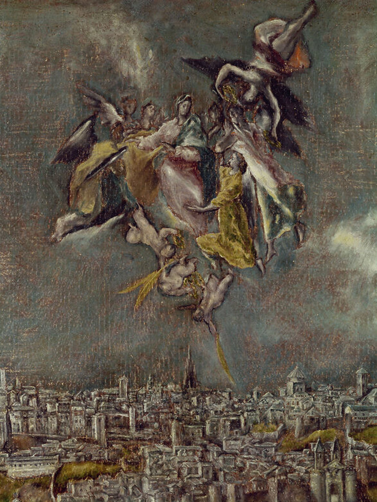 VISTA Y PLANO DE TOLEDO - DET DE LA VIRGEN MARIA CON LA CASULLA DE SAN ILDEFONSO - 1608/1614 - RENACIMIENTO ESPAÑOL/MANIERISMO ESPAÑOL- Conj 313. Author: EL GRECO. Location: CASA MUSEO DEL GRECO-COLECCION, SPAIN. : Stock Photo