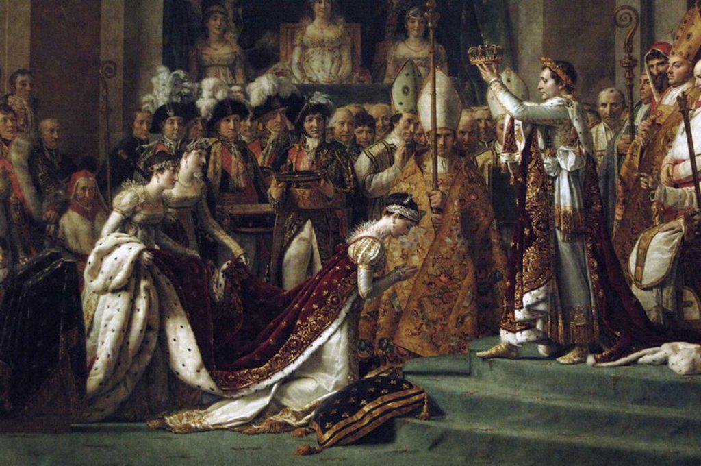 """Stock Photo: 4409-56767 NAPOLEON I BONAPARTE (Ajaccio,1769-Santa Elena, 1815). Emperador de los franceses (1804-1815). """"LA CONSAGRACION DEL EMPERADOR NAPOLEON Y LA CORONACION DE LA EMPERATRIZ JOSEFINA EN LA CATEDRAL DE NOTRE DAME DE PARIS"""" (2.12.1804). Oleo sobre lienzo realizado entre 1807-1808 por el pintor francés Jacques-Louis DAVID (1748-1825). Museo del Louvre. París. Francia."""