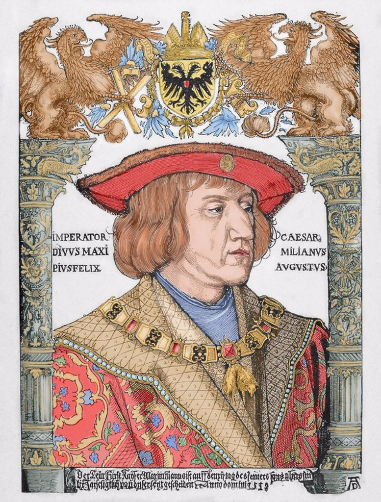 Stock Photo: 4409-56863 Maximilian I (1459-1519). King of the Romans (also known as King of the Germans) from 1486 and Holy Roman Emperor from 1493 until his death. Engraving by Albrecht Durer. Colored.