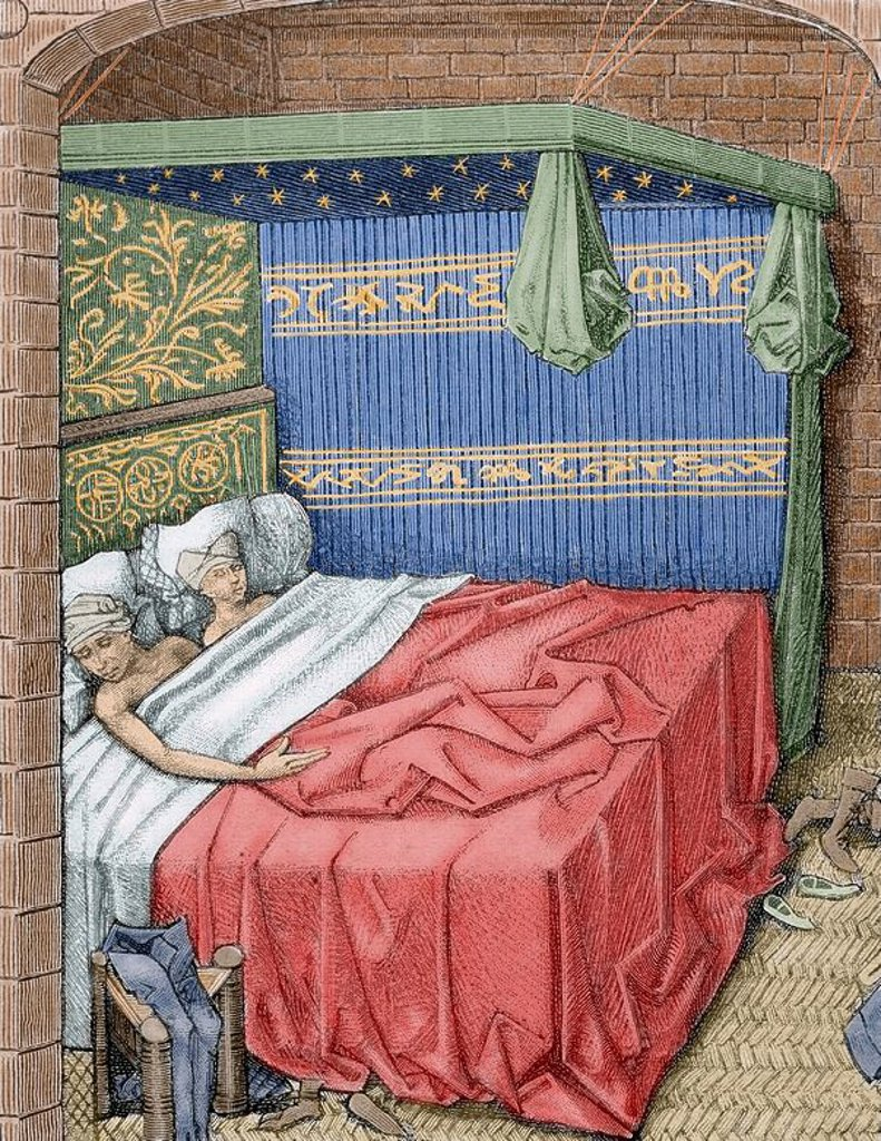 "Couple in bed. 15th century. Engraving of ""Miracles of Notre Dame"". France. Colored engraving. : Stock Photo"