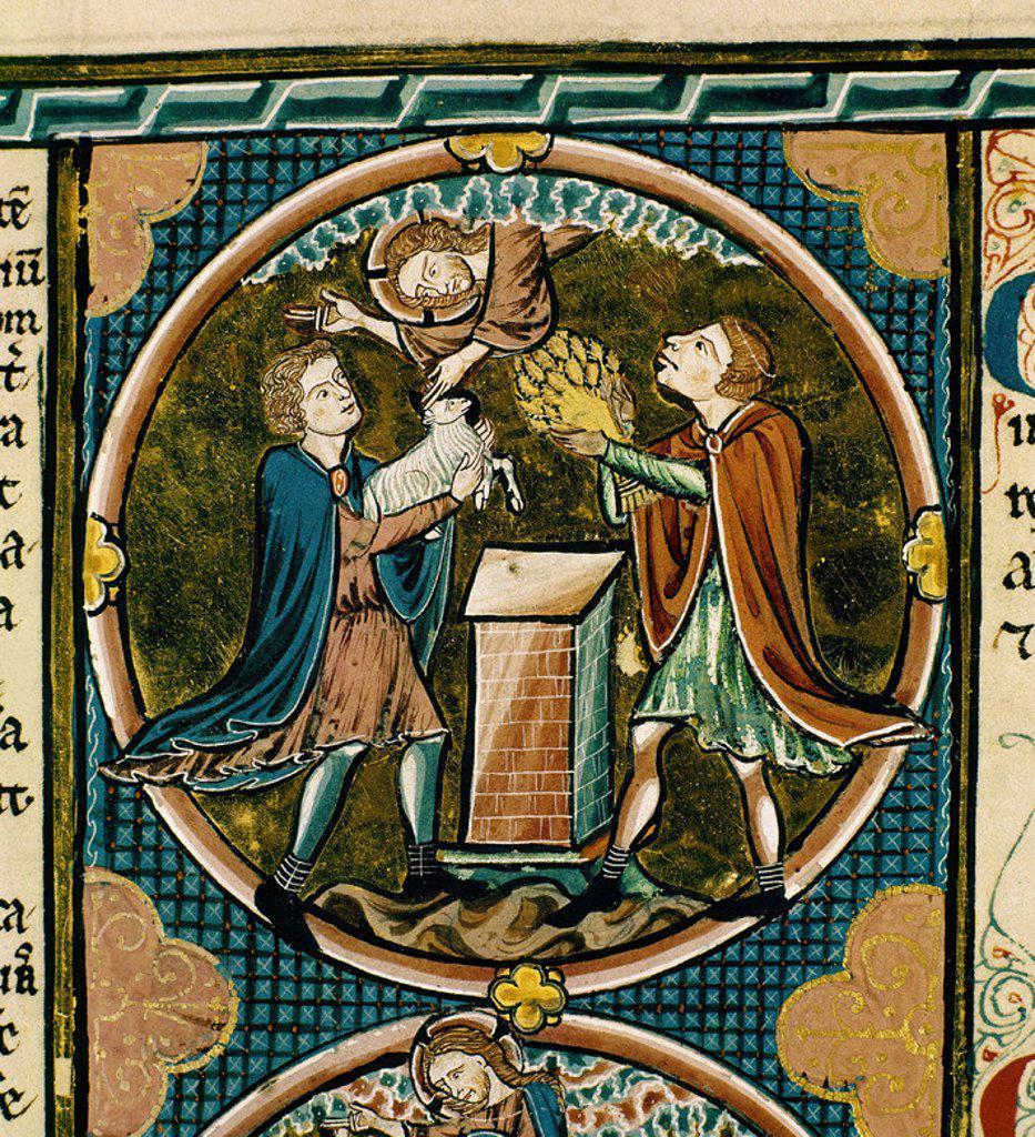 Stock Photo: 4409-5717 BIBLIA DE SAN LUIS FRANCIA-1226/34- CAIN Y ABEL HACEN SUS OFRENDAS A DIOS -MINIATURA GOTICA. Location: CATEDRAL-BIBLIOTECA, TOLEDO, SPAIN.
