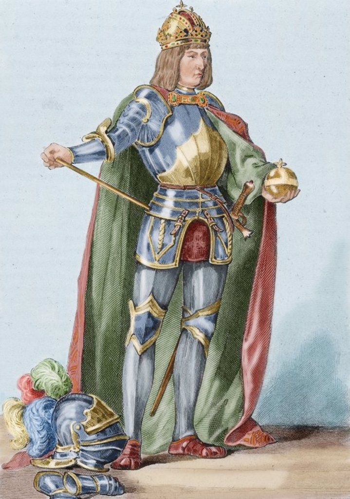 Maximilian I (1459-1519). King of the Romans (also known as King of the Germans) from 1486 and Holy Roman Emperor from 1493 until his death. Colored engraving. : Stock Photo