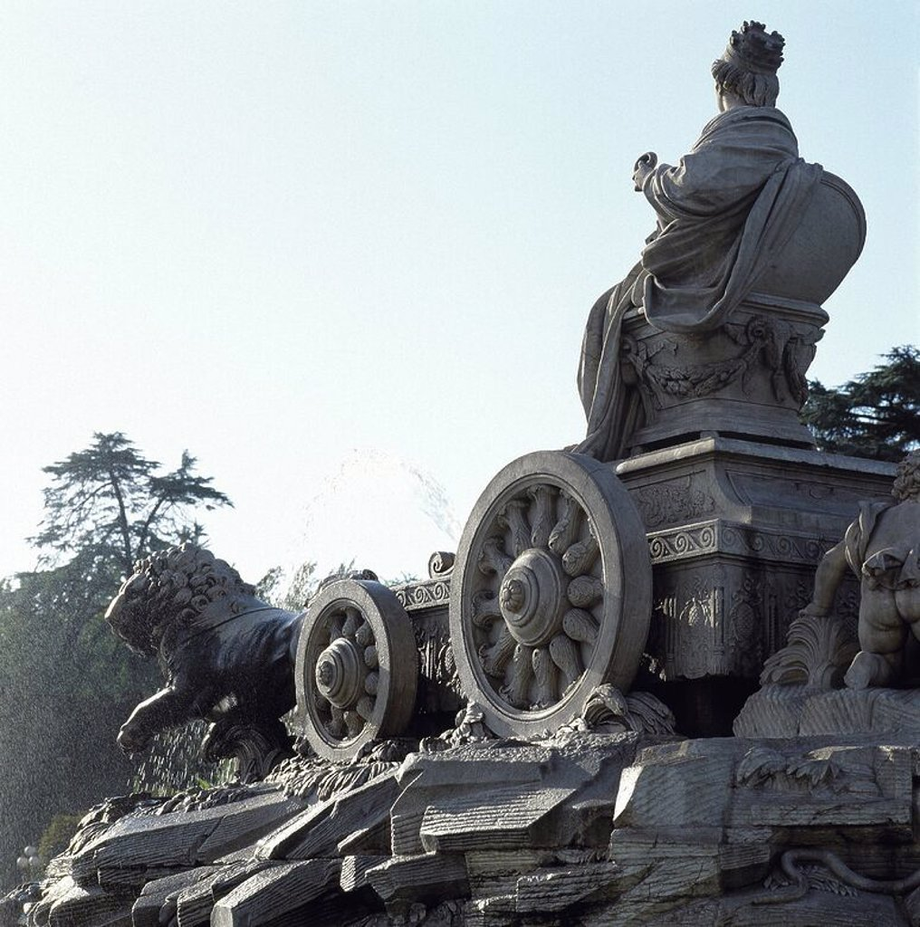 Fountain of Cibeles by Francisco Gutierrez (1727-1782) (the goddess and the chariot), Robert Michel (1720-1786) (the lions) and Miguel Ximenez, according to the design of Ventura Rodri_guez (1717-1785). Cybele in her chariot drawn by lions. Madrid. Spain. : Stock Photo